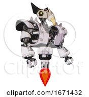 Droid Containing Bird Skull Head And Yellow Led Protruding Eyes And Robobeak Design And Heavy Upper Chest And Heavy Mech Chest And Shoulder Spikes And Jet Propulsion White Halftone Toon