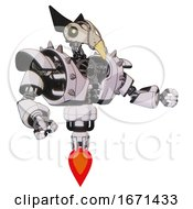 Droid Containing Bird Skull Head And Yellow Led Protruding Eyes And Robobeak Design And Heavy Upper Chest And Heavy Mech Chest And Shoulder Spikes And Jet Propulsion White Halftone Toon Interacting