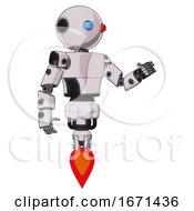 Automaton Containing Oval Wide Head And Giant Blue And Red Led Eyes And Light Chest Exoshielding And Prototype Exoplate Chest And Jet Propulsion White Halftone Toon Interacting