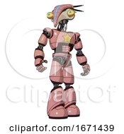 Droid Containing Bird Skull Head And Big Yellow Eyes And Head Shield Design And Light Chest Exoshielding And Yellow Star And Light Leg Exoshielding Toon Pink Tint Hero Pose