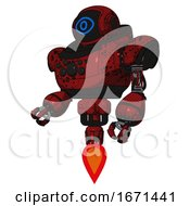 Robot Containing Digital Display Head And Large Eye And Heavy Upper Chest And Chest Compound Eyes And Jet Propulsion Grunge Dots Dark Red Facing Right View