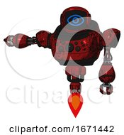 Robot Containing Digital Display Head And Large Eye And Heavy Upper Chest And Chest Compound Eyes And Jet Propulsion Grunge Dots Dark Red Arm Out Holding Invisible Object