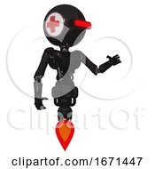 Bot Containing Round Head And Horizontal Red Visor And First Aid Emblem And Light Chest Exoshielding And Ultralight Chest Exosuit And Jet Propulsion Toon Black Scribbles Sketch Interacting