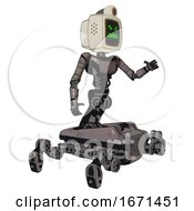 Cyborg Containing Old Computer Monitor And Angry Pixels Face And Retro Futuristic Webcam And Light Chest Exoshielding And Ultralight Chest Exosuit And Insect Walker Legs Light Pink Beige