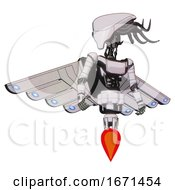 Mech Containing Flat Elongated Skull Head And Cables And Light Chest Exoshielding And Ultralight Chest Exosuit And Cherub Wings Design And Jet Propulsion White Halftone Toon Hero Pose