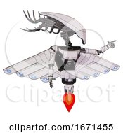 Mech Containing Flat Elongated Skull Head And Cables And Light Chest Exoshielding And Ultralight Chest Exosuit And Cherub Wings Design And Jet Propulsion White Halftone Toon