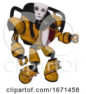 Droid Containing Humanoid Face Mask And Skeleton War Paint And Heavy Upper Chest And Red Shield Defense Design And Light Leg Exoshielding And Spike Foot Mod Worn Construction Yellow