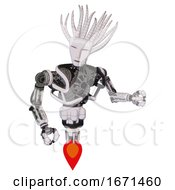 Cyborg Containing Humanoid Face Mask And Heavy Upper Chest And No Chest Plating And Jet Propulsion White Halftone Toon Fight Or Defense Pose