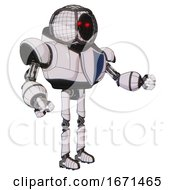 Android Containing Round Barbed Wire Round Head And Heavy Upper Chest And Blue Shield Defense Design And Ultralight Foot Exosuit White Halftone Toon Interacting
