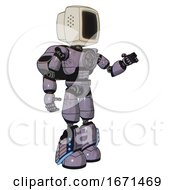 Automaton Containing Old Computer Monitor And Light Chest Exoshielding And Chest Valve Crank And Rocket Pack And Light Leg Exoshielding And Megneto Hovers Foot Mod Matted Pink Metal Interacting