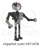 Android Containing Humanoid Face Mask And Heavy Upper Chest And No Chest Plating And Ultralight Foot Exosuit Old Corroded Copper Interacting