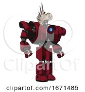 Bot Containing Bird Skull Head And White Eyeballs And Heavy Upper Chest And Heavy Mech Chest And Blue Energy Fission Element Chest And Prototype Exoplate Legs Fire Engine Red Halftone Hero Pose