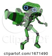 Mech Containing Dual Retro Camera Head And Retro 80s Head And Light Chest Exoshielding And Stellar Jet Wing Rocket Pack And No Chest Plating And Ultralight Foot Exosuit Secondary Green Halftone