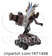 Mech Containing Bird Skull Head And Yellow Led Protruding Eyes And Head Shield Design And Light Chest Exoshielding And Ultralight Chest Exosuit And Stellar Jet Wing Rocket Pack And Six Wheeler Base