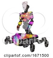 Poster, Art Print Of Cyborg Containing Humanoid Face Mask And Red Slashes War Paint And Light Chest Exoshielding And Yellow Chest Lights And Insect Walker Legs Plasma Burst Facing Right View