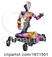 Poster, Art Print Of Cyborg Containing Humanoid Face Mask And Red Slashes War Paint And Light Chest Exoshielding And Yellow Chest Lights And Insect Walker Legs Plasma Burst Interacting