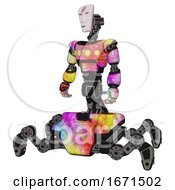 Poster, Art Print Of Cyborg Containing Humanoid Face Mask And Red Slashes War Paint And Light Chest Exoshielding And Yellow Chest Lights And Insect Walker Legs Plasma Burst Standing Looking Right Restful Pose