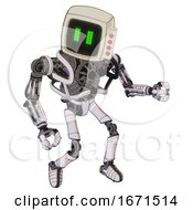 Mech Containing Old Computer Monitor And Pixel Line Eyes And Red Buttons And Heavy Upper Chest And No Chest Plating And Ultralight Foot Exosuit White Halftone Toon Fight Or Defense Pose