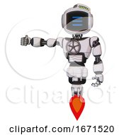 Bot Containing Digital Display Head And Three Horizontal Line Design And Green Led Array And Light Chest Exoshielding And Chest Valve Crank And Jet Propulsion White Halftone Toon