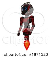 Android Containing Digital Display Head And Circle Eyes And Led And Protection Bars And Light Chest Exoshielding And Ultralight Chest Exosuit And Jet Propulsion Grunge Dots Dark Red