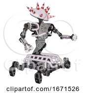 Bot Containing Red And White Cone Dome Head And Heavy Upper Chest And No Chest Plating And Insect Walker Legs White Halftone Toon Interacting