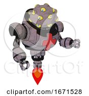 Cyborg Containing Many Eyed Monster Head Design And Heavy Upper Chest And First Aid Chest Symbol And Jet Propulsion Dark Sketch Fight Or Defense Pose