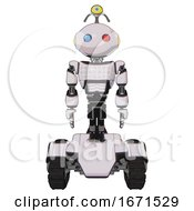 Robot Containing Oval Wide Head And Giant Blue And Red Led Eyes And Minibot Ornament And Light Chest Exoshielding And Chest Green Blue Lights Array And Tank Tracks White Halftone Toon Front View