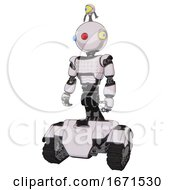 Robot Containing Oval Wide Head And Giant Blue And Red Led Eyes And Minibot Ornament And Light Chest Exoshielding And Chest Green Blue Lights Array And Tank Tracks White Halftone Toon
