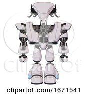 Android Containing Flat Elongated Skull Head And Cables And Heavy Upper Chest And Heavy Mech Chest And Light Leg Exoshielding White Halftone Toon Front View