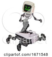 Mech Containing Old Computer Monitor And Angry Pixels Face And Red Buttons And Light Chest Exoshielding And No Chest Plating And Insect Walker Legs White Halftone Toon Fight Or Defense Pose