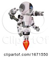 Droid Containing Round Head And Vertical Cyclops Visor And Light Chest Exoshielding And Prototype Exoplate Chest And Minigun Back Assembly And Jet Propulsion White Halftone Toon Facing Left View