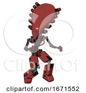 Mech Containing Flat Elongated Skull Head And Light Chest Exoshielding And No Chest Plating And Prototype Exoplate Legs Light Brick Red Fight Or Defense Pose