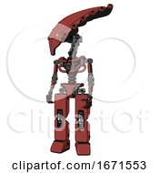 Mech Containing Flat Elongated Skull Head And Light Chest Exoshielding And No Chest Plating And Prototype Exoplate Legs Light Brick Red Standing Looking Right Restful Pose
