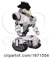 Bot Containing Bird Skull Head And Big Yellow Eyes And Crow Feather Design And Heavy Upper Chest And Chest Green Energy Cores And Tank Tracks White Halftone Toon Facing Left View