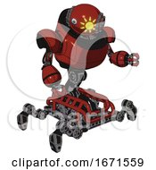 Bot Containing Oval Wide Head And Sunshine Patch Eye And Steampunk Iron Bands With Bolts And Heavy Upper Chest And Insect Walker Legs Cherry Tomato Red Fight Or Defense Pose