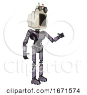 Automaton Containing Old Computer Monitor And Old Computer Magnetic Tape And Light Chest Exoshielding And Ultralight Chest Exosuit And Ultralight Foot Exosuit Matted Pink Metal Interacting