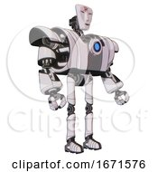 Mech Containing Humanoid Face Mask And Red Slashes War Paint And Heavy Upper Chest And Heavy Mech Chest And Blue Energy Fission Element Chest And Ultralight Foot Exosuit White Halftone Toon