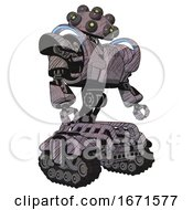 Automaton Containing Many Robo Eye Domehead Design And Heavy Upper Chest And Heavy Mech Chest And Battle Mech Chest And Tank Tracks Dark Sketch Lines Facing Left View