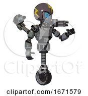 Droid Containing Grey Alien Style Head And Blue Grate Eyes And Lightning Bolts And Gray Helmet And Light Chest Exoshielding And Cable Sash And Minigun Back Assembly And Unicycle Wheel