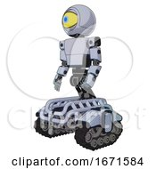 Bot Containing Giant Eyeball Head Design And Light Chest Exoshielding And Prototype Exoplate Chest And Tank Tracks Blue Tint Toon Facing Right View
