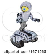 Bot Containing Giant Eyeball Head Design And Light Chest Exoshielding And Prototype Exoplate Chest And Tank Tracks Blue Tint Toon Fight Or Defense Pose