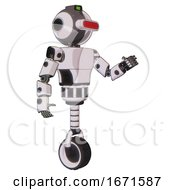 Automaton Containing Oval Wide Head And Red Horizontal Visor And Green Led Ornament And Light Chest Exoshielding And Prototype Exoplate Chest And Unicycle Wheel White Halftone Toon Interacting