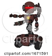 Android Containing Round Head And Horizontal Red Visor And Head Light Gadgets And Light Chest Exoshielding And Yellow Star And Minigun Back Assembly And Tank Tracks Steampunk Copper
