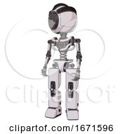 Bot Containing Green Dot Eye Corn Row Plastic Hair And Light Chest Exoshielding And No Chest Plating And Prototype Exoplate Legs White Halftone Toon Standing Looking Right Restful Pose