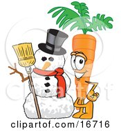Orange Carrot Mascot Cartoon Character Standing By A Snowman