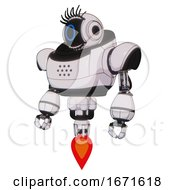 Mech Containing Digital Display Head And Circle Face And Eye Lashes Deco And Heavy Upper Chest And Jet Propulsion White Halftone Toon Standing Looking Right Restful Pose