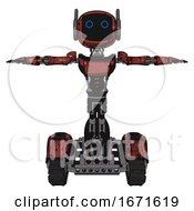 Automaton Containing Digital Display Head And Circle Eyes And Winglets And Light Chest Exoshielding And Ultralight Chest Exosuit And Tank Tracks Grunge Matted Orange T Pose