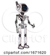 Android Containing Digital Display Head And Stunned Expression And Winglets And Light Chest Exoshielding And No Chest Plating And Ultralight Foot Exosuit White Halftone Toon Facing Left View