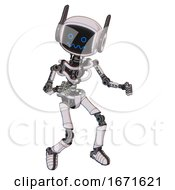 Android Containing Digital Display Head And Stunned Expression And Winglets And Light Chest Exoshielding And No Chest Plating And Ultralight Foot Exosuit White Halftone Toon Fight Or Defense Pose