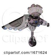 Bot Containing Techno Multi Eyed Domehead Design And Light Chest Exoshielding And Blue Energy Core And Cherub Wings Design And Unicycle Wheel Dark Sketch Fight Or Defense Pose